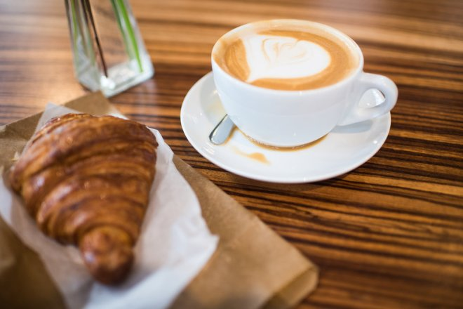 Almond Milk Latte and Croissant at the Source - LOVE this spot and will go back anywhere, any time!