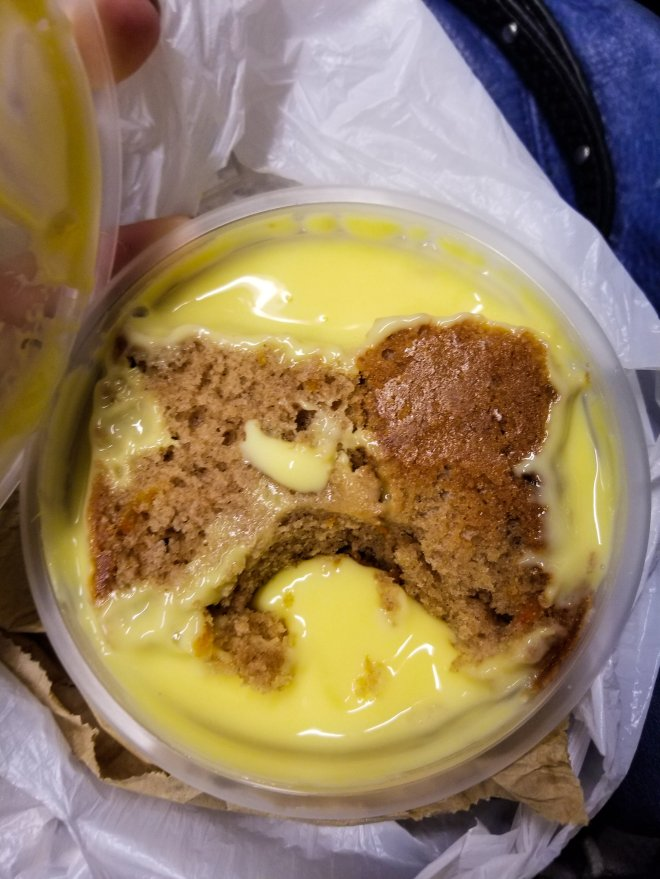 My very last meal in London, and it FINALLY lived up to its reputation of having gross food. This carrot cake with custard was truly awful. But you know, if that's the only unappetizing meal in a week, that's doing pretty darn good!
