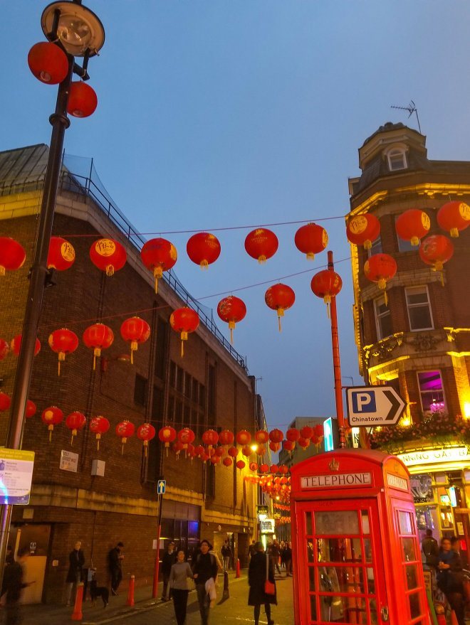 Chinatown at night in London. We ate some amazing dumplings there that night!