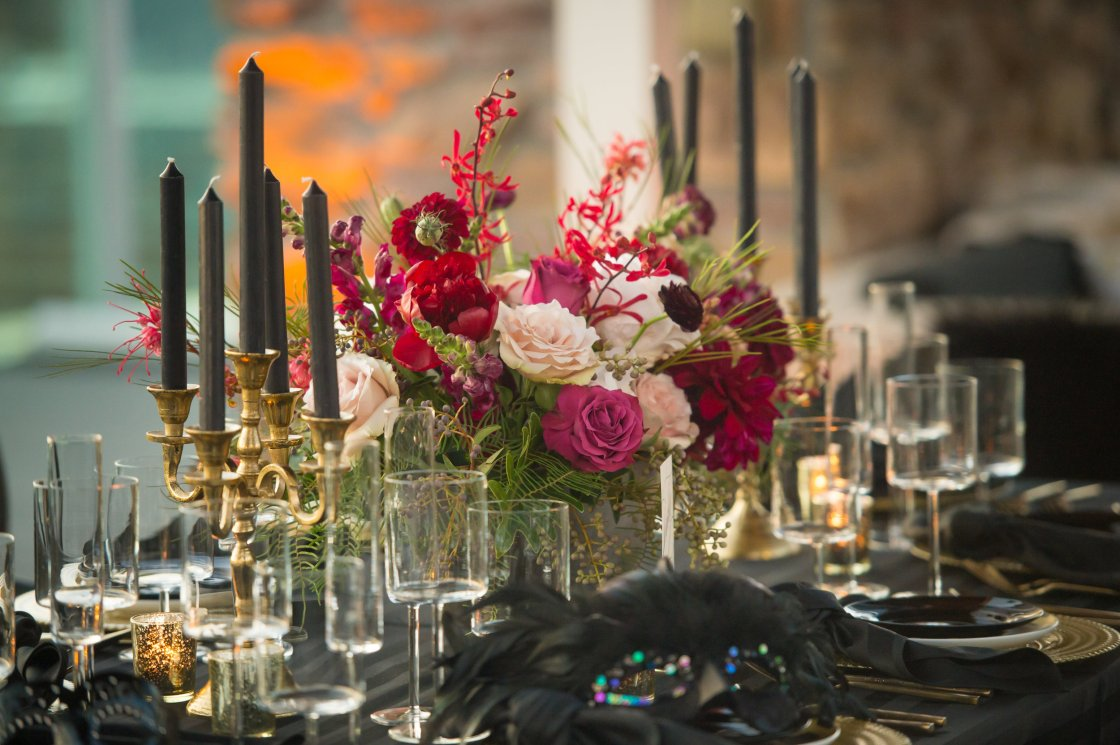 romantic dramatic centerpieces urban wedding